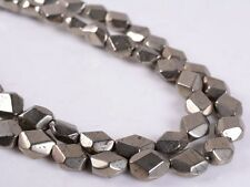 """0695 8mm Faceted Pyrite nuggets loose beads 16"""""""
