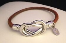 Vintage KIRKS FOLLY Love Knot Silver Tone Bracelet Brown Leather Band 4N