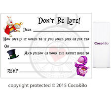 Coco&Bo 5 x Don't Be Late Tea Party Invitations Alice in Wonderland Mad Hatter
