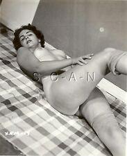 Original Vintage 40s-60s Nude RP- Endowed Woman- Stockings- Suntan Lines- Bed