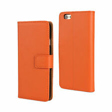 "For iPhone 6/6s 4.7"" Orange Genuine Real Leather Card Wallet Case Cover Stand"