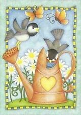 """Watering Birds Spring House Flag Watering Can Decorative Hearts Daisies 28""""x40"""""""