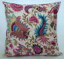 "16"" INDIAN CUSHION PILLOW COVERS KANTHA THROW Ethnic Decorative India Decor"