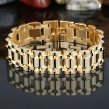 "Men's Cool Stainless Steel Gold Cuban Curb Link Chain Bracelet  8.66"" 17mm"