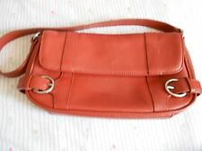 ANN TAYLOR LOFT RUST BAGUETTE PURSE GENUINE LEATHER AUTUMN GENTLY USED