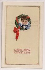 Young Boy Child in Wreath tied with Red Bow Ribbon Christmas Postcard