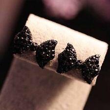 Simple Black Butterfly Bow Earrings Ear Studs Womens Jewelry Gift