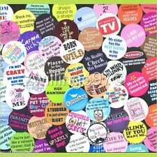 100 Pre-Cut assorted FUNNY PHRASES SAYINGS Fun Geeks BOTTLE CAP IMAGES Variety