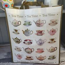 TEA TIME Reusable Shopping / Shopper Bag, Gift Shabby Vintage  Chic