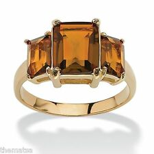 TRIPLE BIRTHSTONE CITRINE 18K GOLD GP NOVEMBER RING SIZE  5 6 7 8 9 10