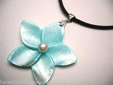 40mm Hawaiian Blue Mother Pearl Plumeria Flower Cultured FW White Pearl Necklace
