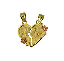 "14K Yellow Gold ""BEST FRIENDS"" Broken Heart Charm Pendant"