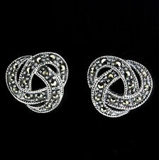 Sterling Silver 925 Marcasite Vintage Style Large Knot Stud Earrings RRP $80