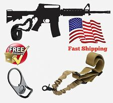 AR 15 Tan Single Point Sling Adapter Plate Mount COMBO Rifle Tactical Bungee
