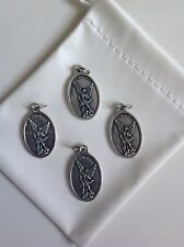 "Lot of 4 Catholic Gift 1"" Silver Plate St Michael Guardian Angel Medal Pendant"