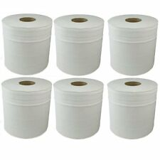 6X White Paper Rolls - Centre Feed Rolls