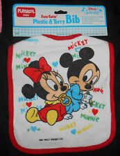 Vtg NEW Dated 1984-Baby Mickey & Minnie Mouse Bib-Terry Cloth, Plastic Back-  6D