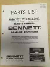 Bennett Parts Catalog Manual ~ Models 2052 2053 2062 2063 Gas Pumps Dispensers b