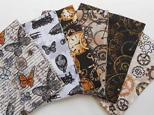 Fabric Fat Quarter Bundle Steam Punk 100% Cotton Cogs, Cycles Clocks Craft