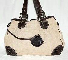 Juicy Couture Beige Natural Jute with Thick Dark Brown Leather Trim XL Tote Bag