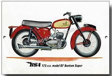 BSA 175CC MODEL D7 BANTAM SUPER METAL SIGN.VINTAGE BRITISH BSA MOTORCYCLES.
