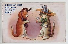 POSTCARD - Reg Maurice, comic dressed cats in hats drinking wine, Regent #3644