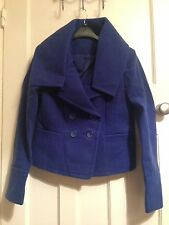 Women's TG Royal Blue Double Breasted Short Jacket with Large Collar Size 8