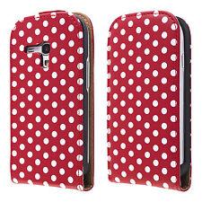 Handy tasche Samsung Galaxy S3 mini i8190 rot weiß flip case schutz cover hülle