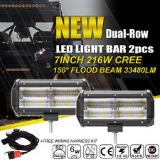 2x 7INCH 216W 8D CREE LED WORK LIGHT BAR FLOOD SPOT OFFROAD DRIVING UTE 4WD LAMP