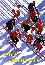 Italy - This Winter - Ski Travel Vacation A3 Art Poster Print