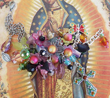 New AA mixed bead flower butterfly OL Guadalupe Catholic medal charm bracelet