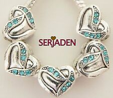 5 Aqua Stone Heart Charms Fits European Style Jewelry 11 * 10 and 5 mm Hole R215