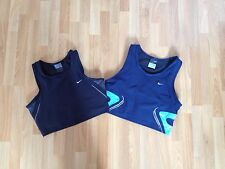 Señoras 2x Dri Fit Nike Deportes Bras Negro/Gris & Azul Marino/Azul Claro-tamaño 10-12
