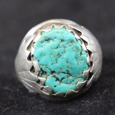 Vintage Native American Navajo Sterling Silver Turquoise Ring Size 10.5