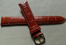 Timex Glossy Brown Bamboo Crocodile Grain 18mm LONG Genuine Leather Watch Band