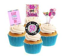 Novelty 50th Birthday PINK Mix 12 Edible Stand Up wafer paper cake toppers party