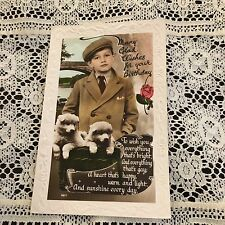Vintage Post Card Old Fashioned Boy Birthday puppies Real Picture