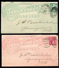 US 1883-1891 TWO WHOLE COVER ADVERTISING STOVES JOHN KERN JR. & CO IN PINK AND