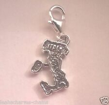 clip on Italy Map Sterling Silver 925 Charm Italian Country Travel European Sab@