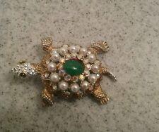 Turtle Brooch Pin Rhinstones Faux Pearls Vintage