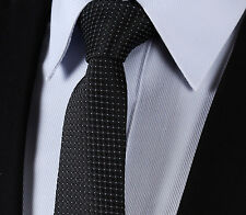 "TC02L7 Black Check 2.75"" Silk Slim Narrow Men Tie Necktie"