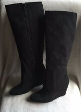 Jessica Simpson Riese tall wedge boots long shaft cuff covers black size US 9