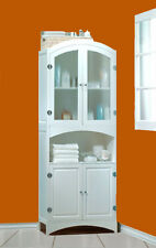 NEW WHITE WOOD LINEN CABINET BATHROOM~LAUNDRY ROOM STORAGE HOME DECOR FURNITURE