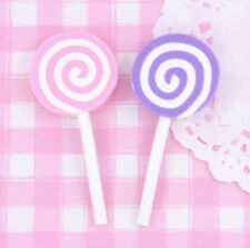 4 x LARGE Cute Clay Lollipops Cabochon Embellishments DIY Decoden Kawaii Craft