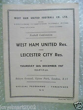 1957 Combination Match WEST HAM UNITED Res. v LEICESTER CITY Res. 26th Dec