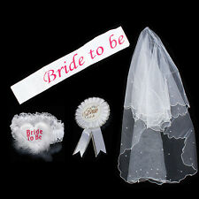 1Set Bride to Be Garter Sash Veil Badge Bachelorette Party Hen Night White Decor