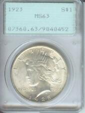 1923 PEACE SILVER DOLLAR PCGS MS63 MS-63 First Generation RATTLER HOLDER
