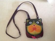 Hand Tooled Leather Cat and Mouse Animal Shape Purse Crossbody Bag