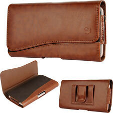For Moto G4 (4th Gen)~Deluxe Brown Sleeve Leather Pouch Wallet Case Clip Holster
