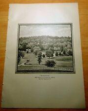 Antique Print 1886 Woodside RESIDENCE OF JOSEPH H. LEWIS White Plains, New York